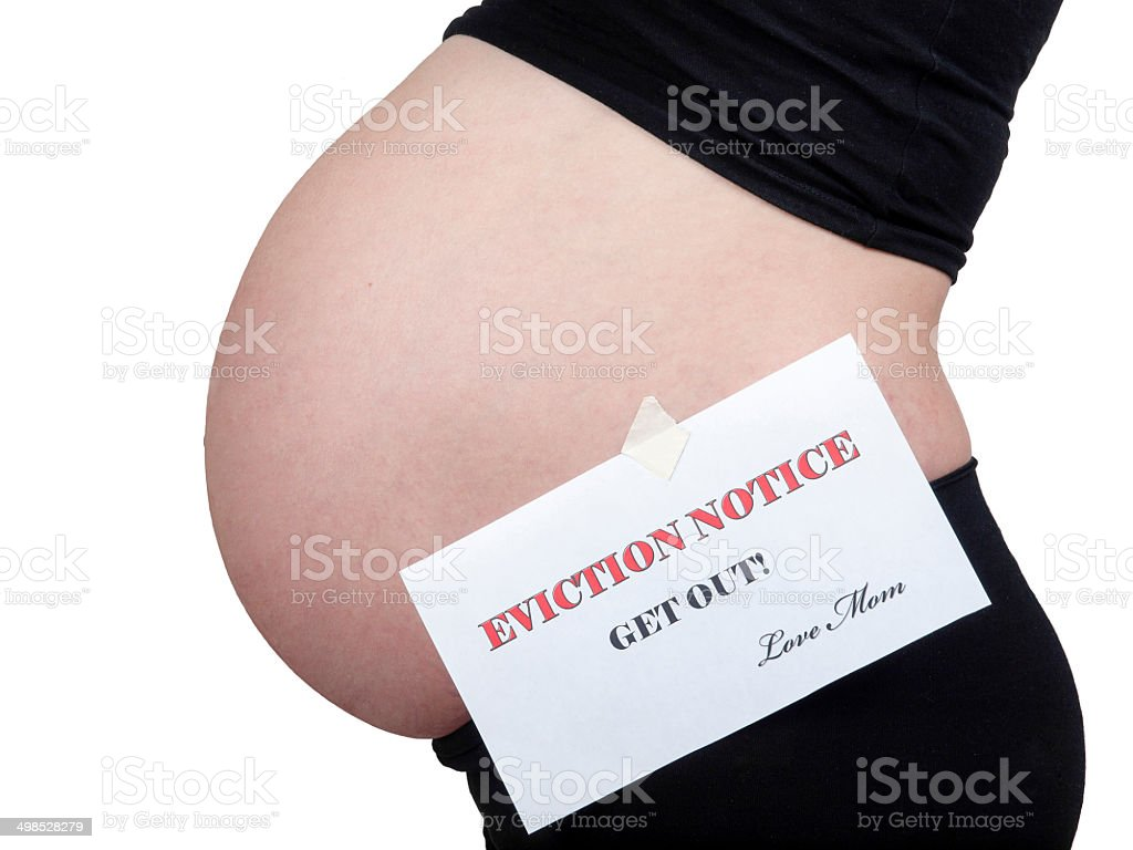 Eviction Notice on pregnant belly stock photo