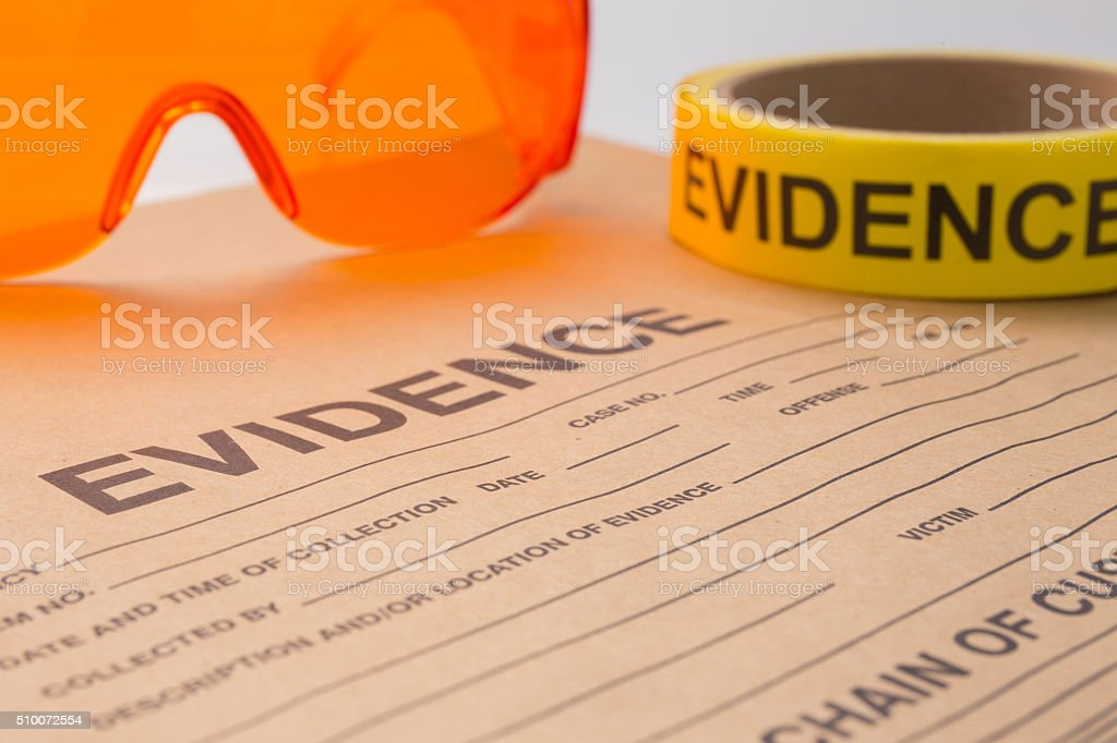 evidence bag and tool for forensic stock photo