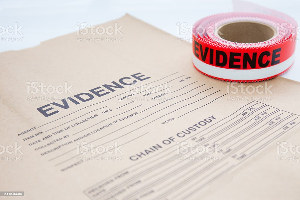 evidence bag with evidence sealing tape  for crime scene stock photo
