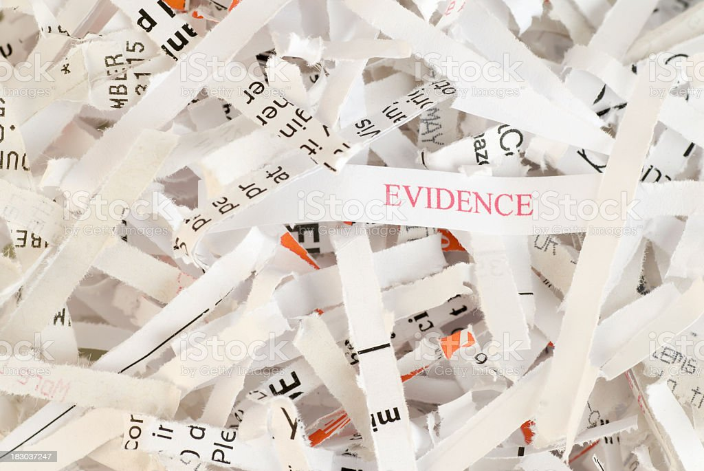 Evidence Destruction - Obstruction of Justice royalty-free stock photo