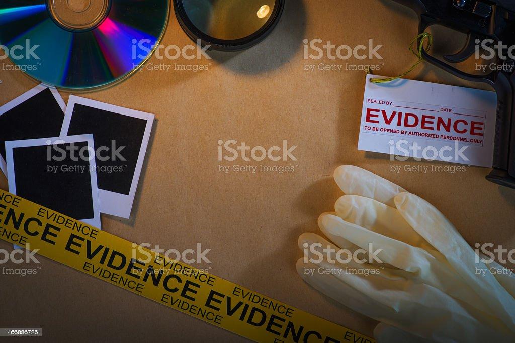 Evidence files in police investigation stock photo