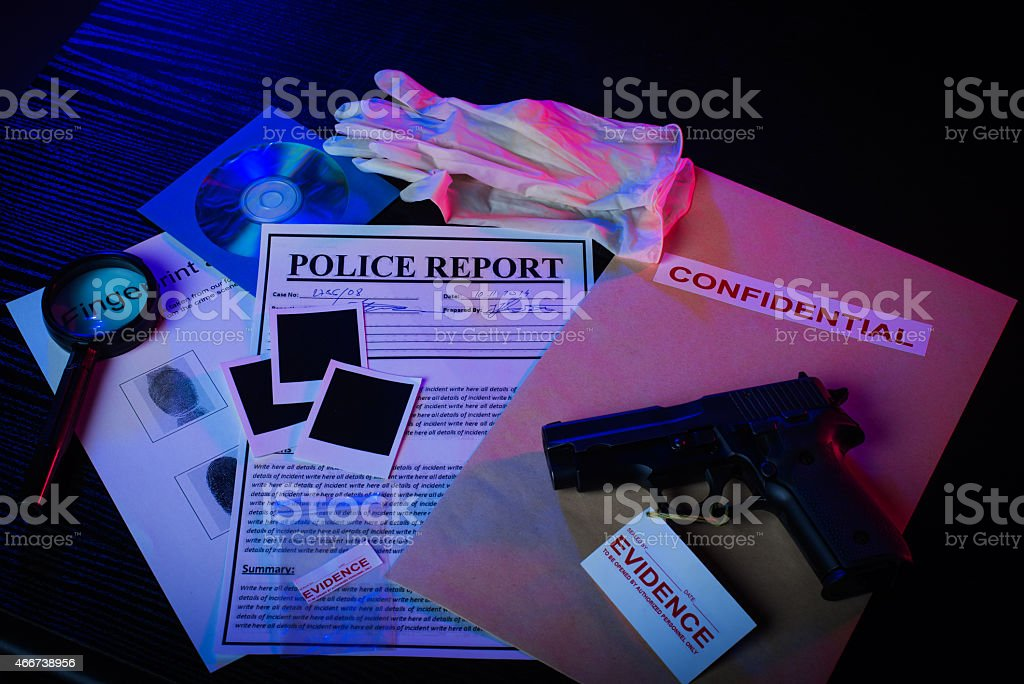 Evidence to murder stock photo