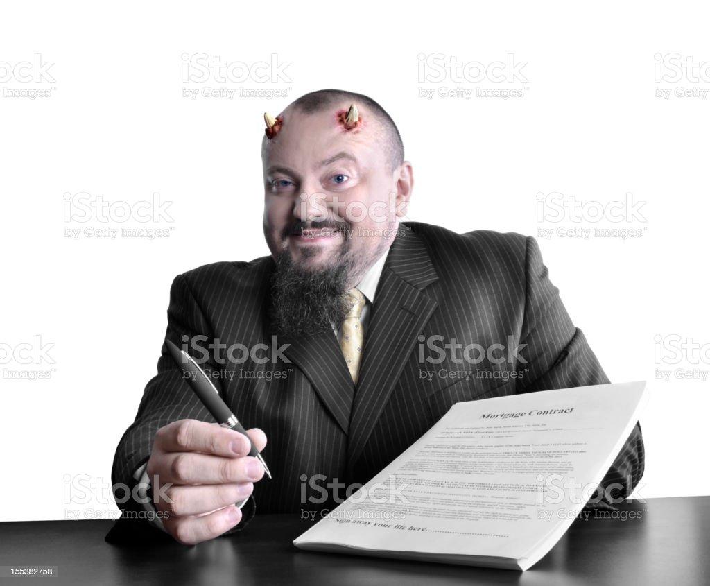 Evil banker stock photo