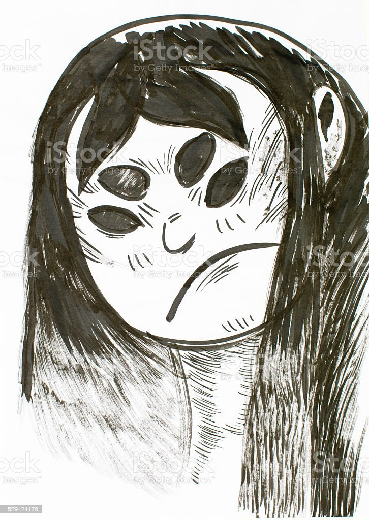 evil emo girl painting stock photo