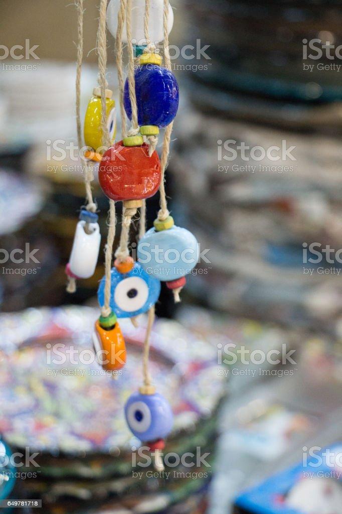 Evil eye bead as Amulet souvenir stock photo