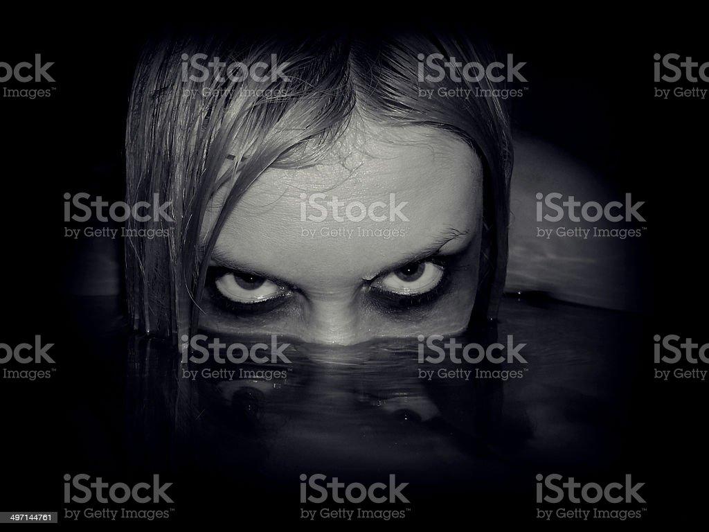 Evil girl stock photo