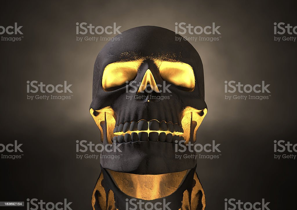 Evil Glowing Skull Front stock photo
