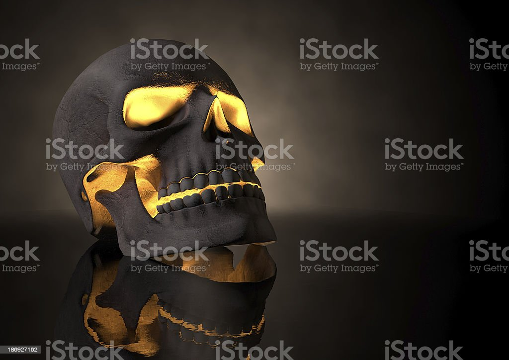 Evil Glowing Skull Perspective stock photo