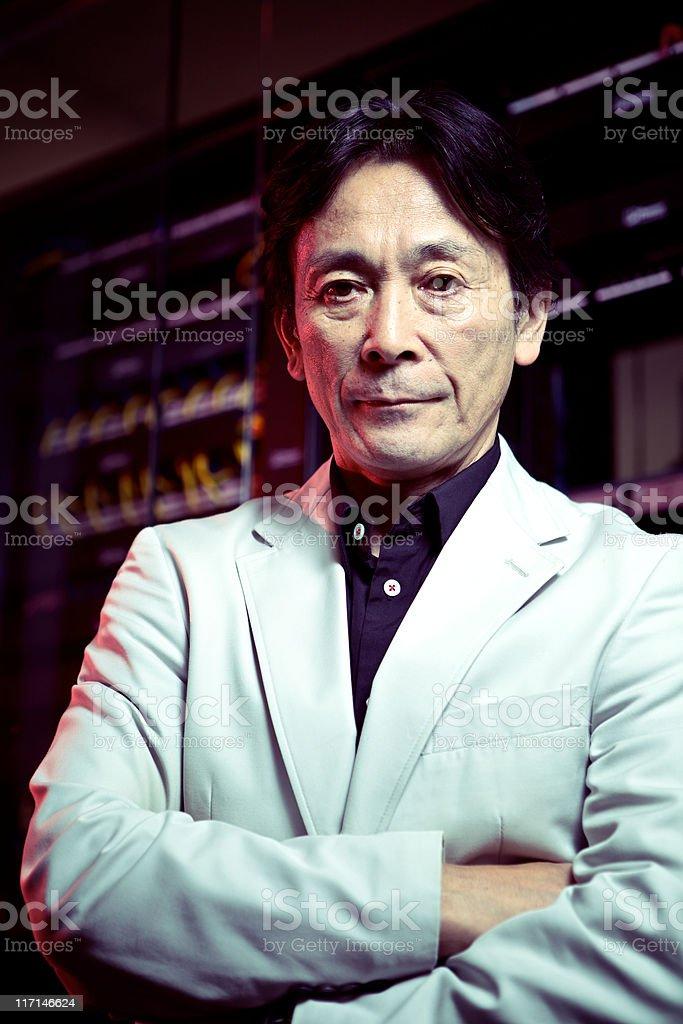 Evil Japanese Scientist stock photo