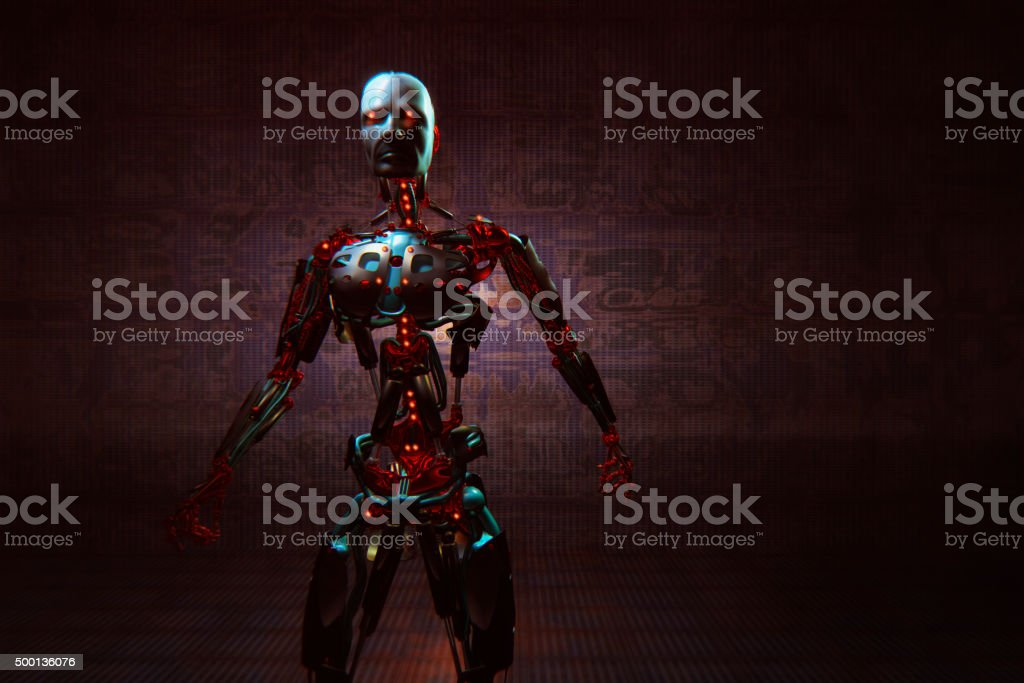 Evil looking futuristic cyborg stock photo