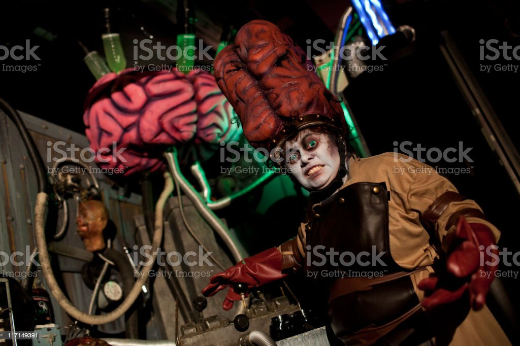 Evil Mad Scientist with Large Brain Costume, Halloween Hanuted House stock photo