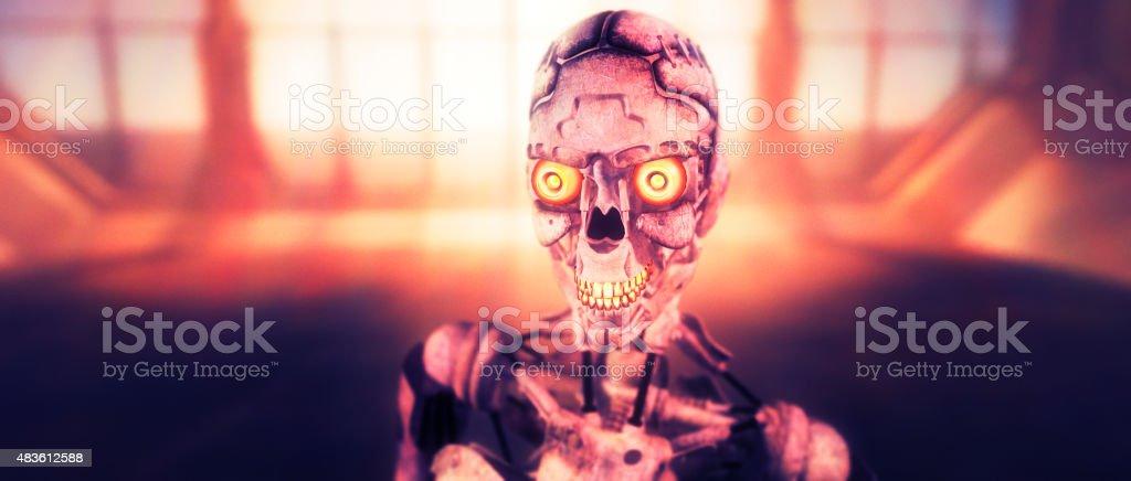 Evil robot cyborg close-up stock photo