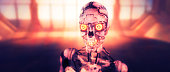 Evil robot cyborg close-up