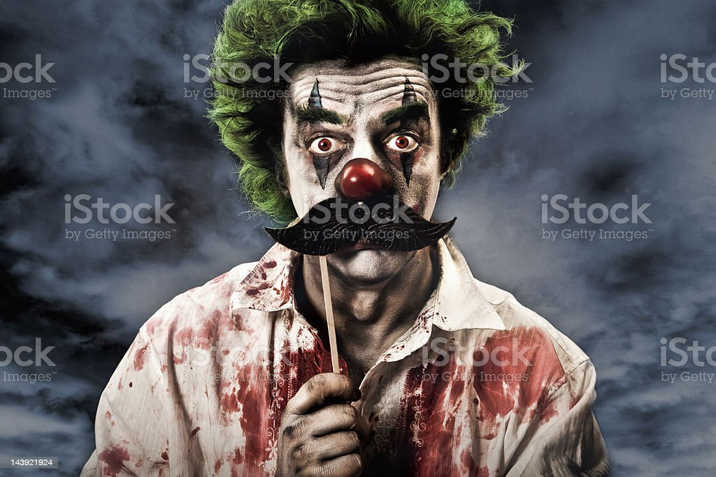 Evil Vampire Clown and Mustache royalty-free stock photo