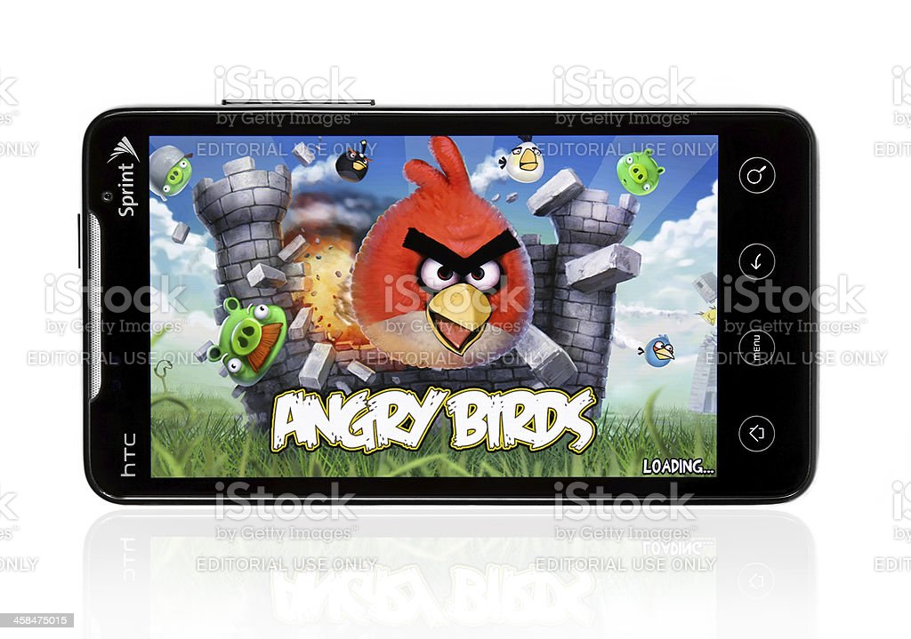 HTC Evo with Angry Birds stock photo