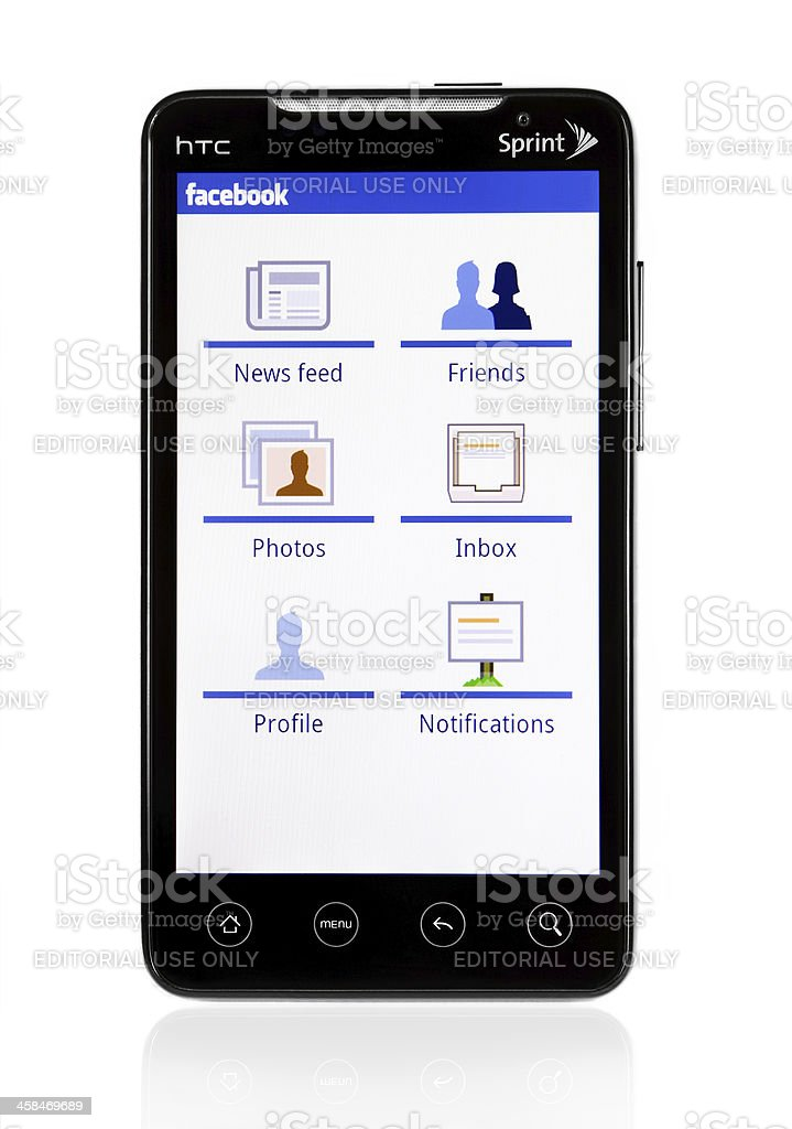 HTC Evo with Facebook royalty-free stock photo