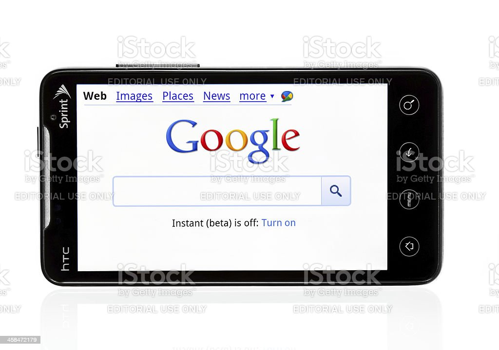 HTC Evo with Google page stock photo