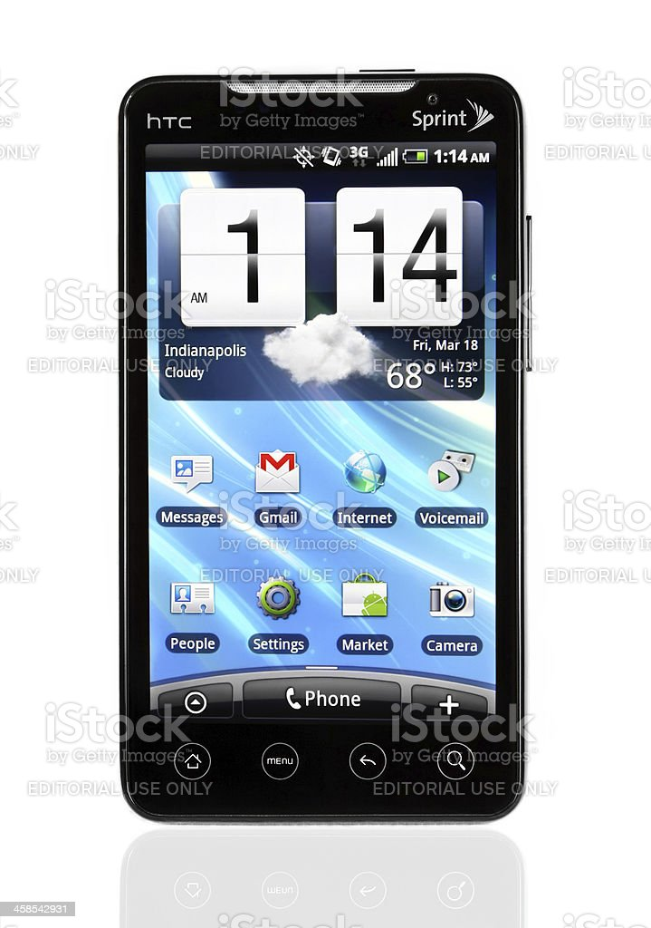 HTC Evo with home screen stock photo