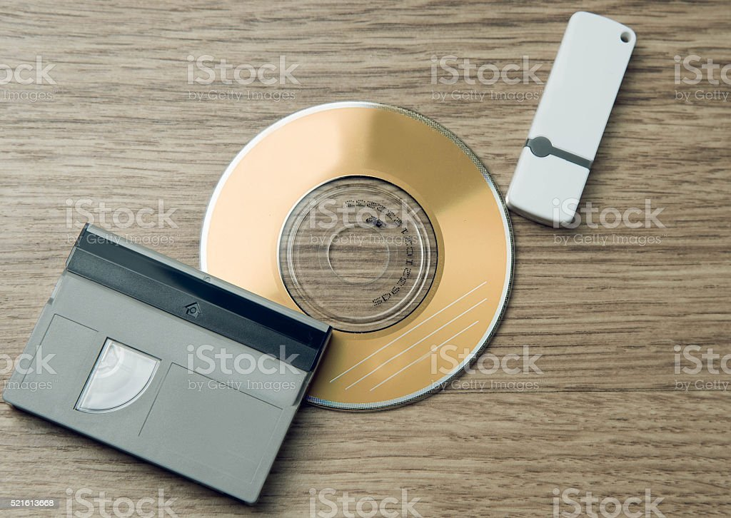 Evolution media. Cassette, CD, flash drive. stock photo