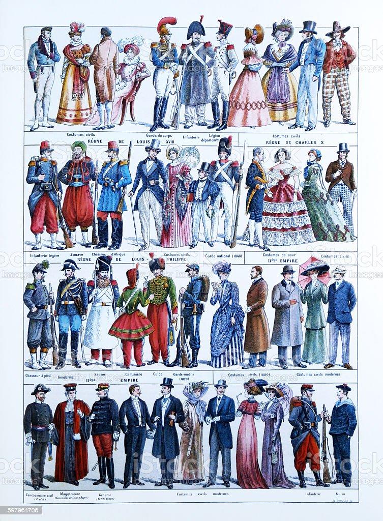 Evolution of French fashion stock photo