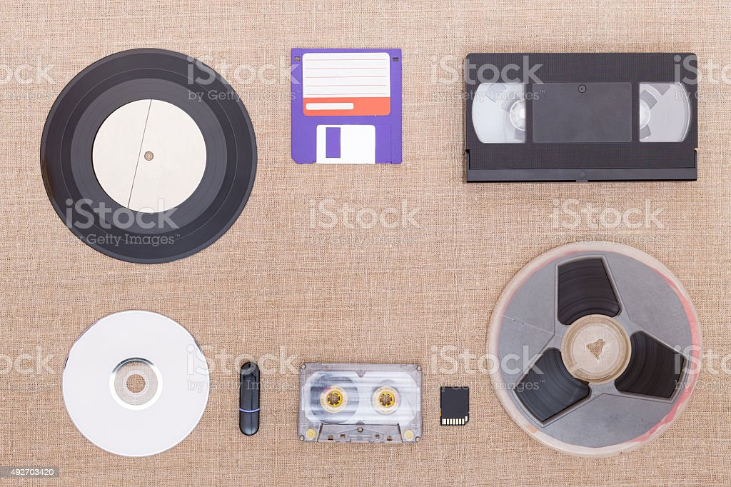 Evolution of information carrier. stock photo