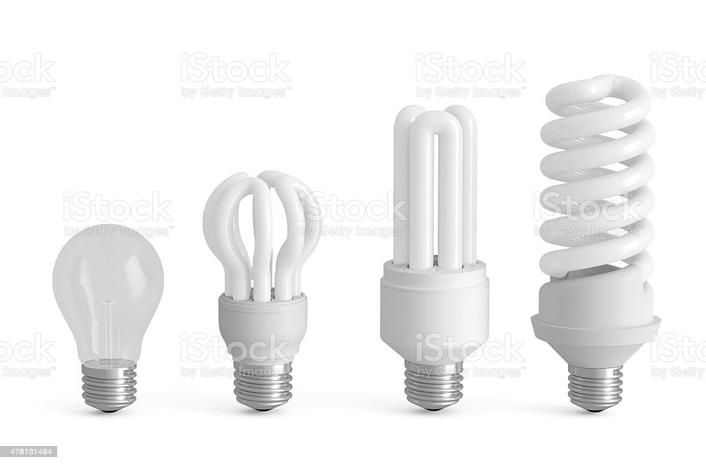 Evolution of lamps concept stock photo