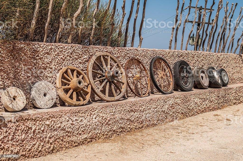 Evolution of wheels stock photo