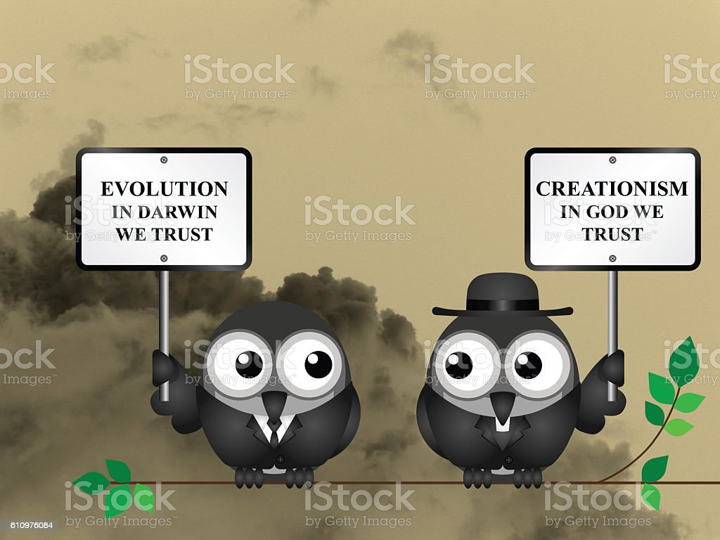 Evolution verses Creationism stock photo