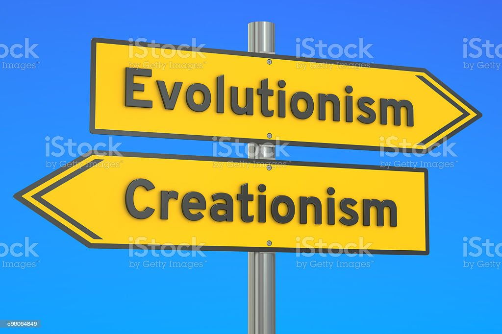 evolutionism vs creationism concept on the signpost, 3D renderin stock photo