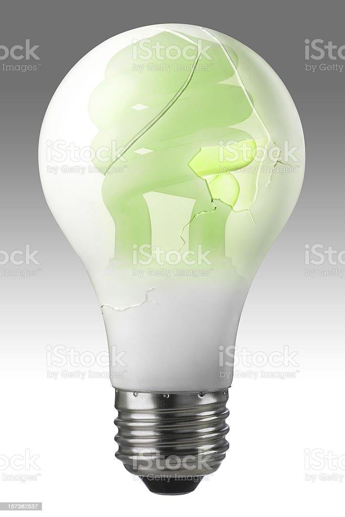 An ordinary household light bulb cracks as it evolves into a new...