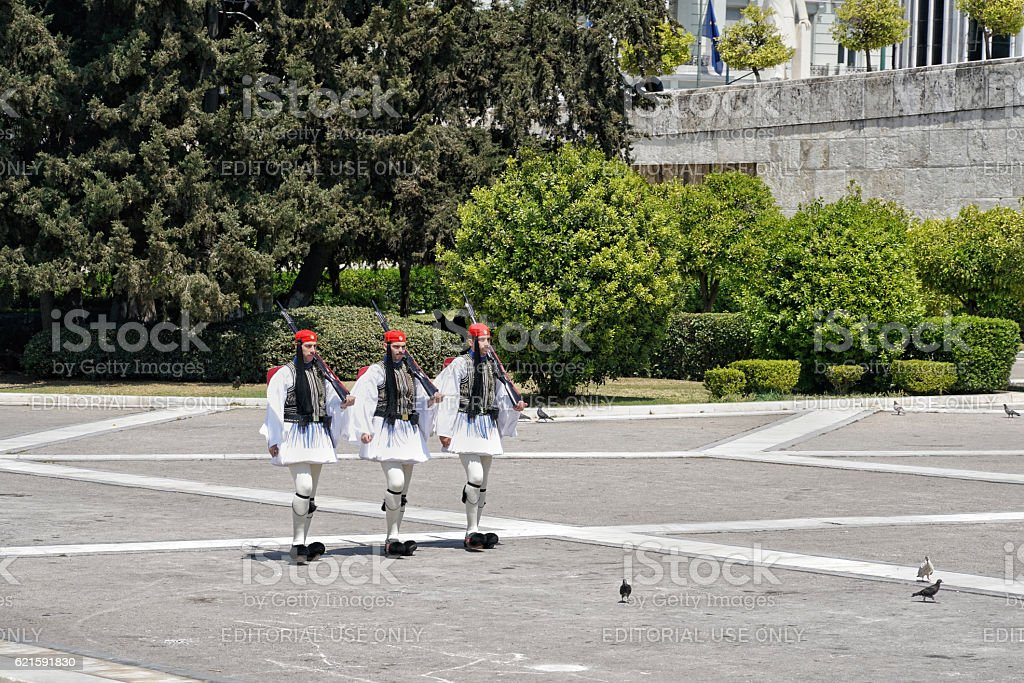 Evzon guards in Athens, Greece. stock photo