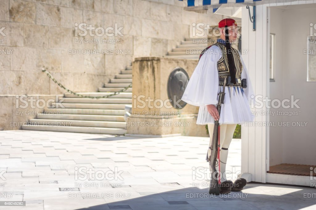 Evzonas standing guard at the Unknown Soldier Tomp monument stock photo