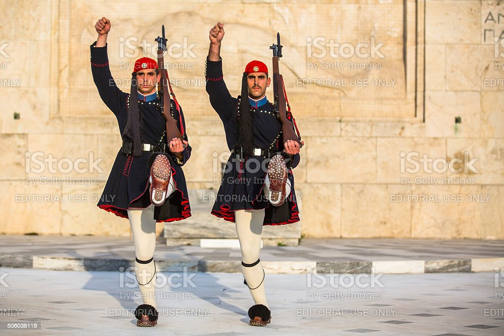 Evzone guarding the Tomb of Unknown Soldier stock photo