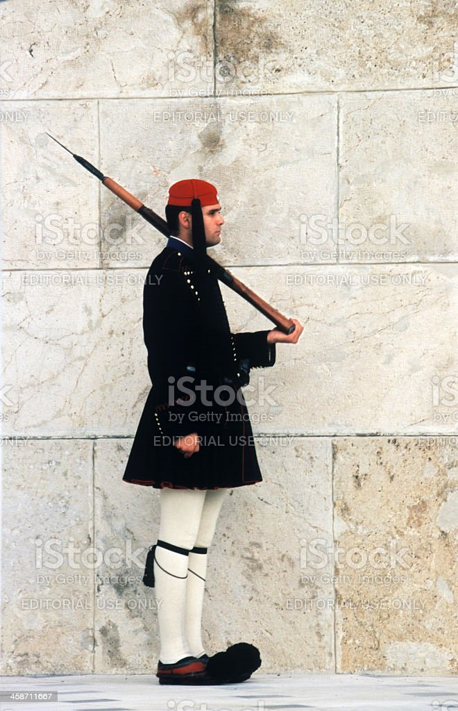 Evzone guards Tomb of the Unknown Soldier royalty-free stock photo