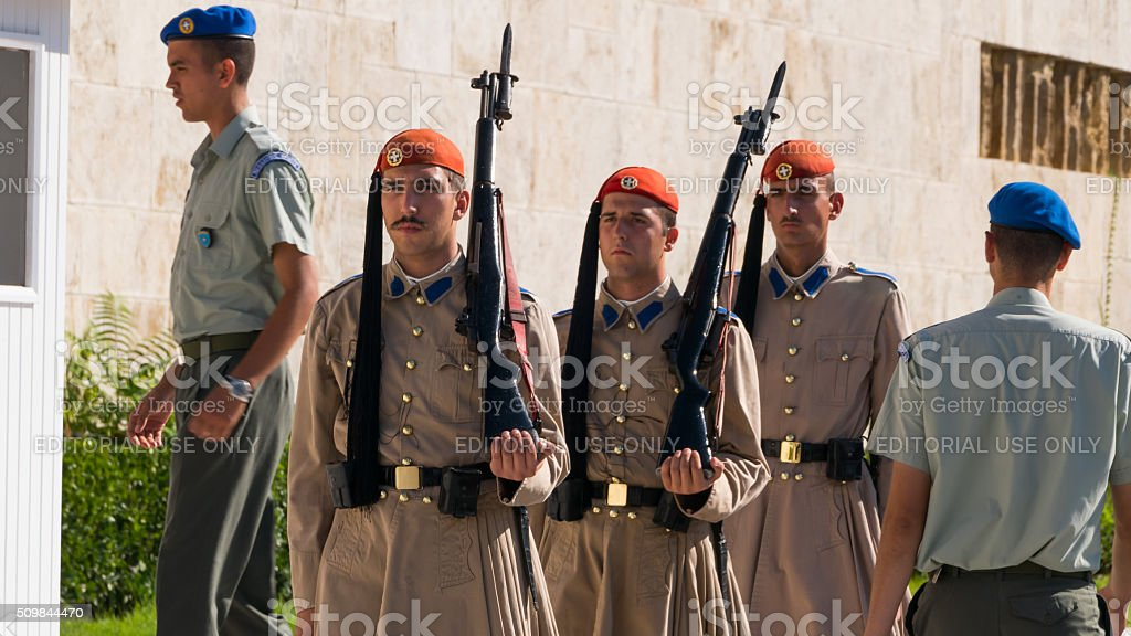 Evzone soldiers at the Parliament of Athens stock photo