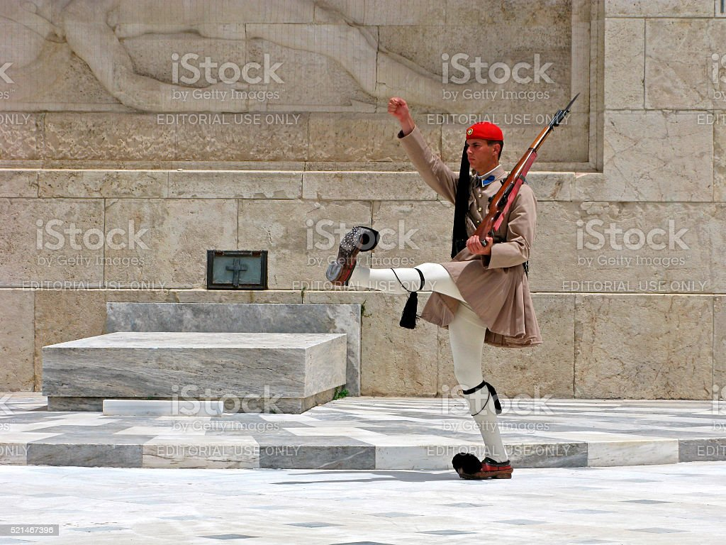 Evzones. Greek guard. stock photo