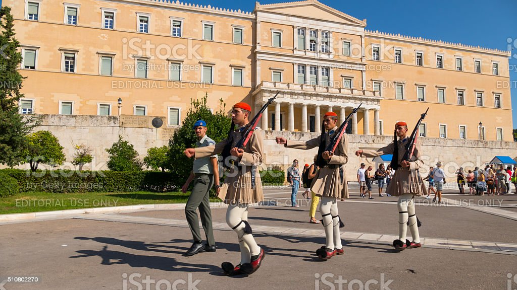 Evzones marching in front of the Parliament  Athens, Greece stock photo