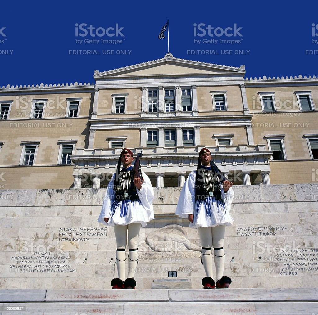 Evzones the presidential ceremonial guards in Greece royalty-free stock photo