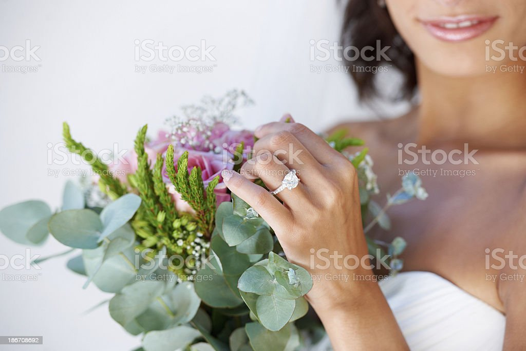 Exactly the way she wanted her wedding stock photo