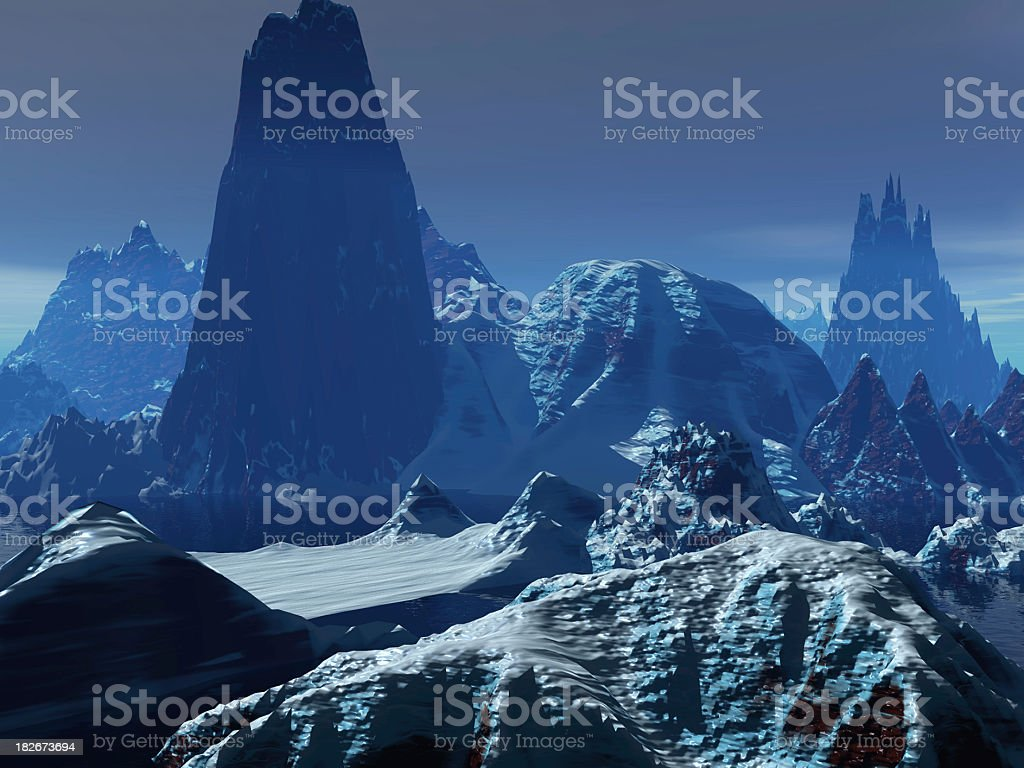 Exaggerated Mountain Landscape royalty-free stock photo