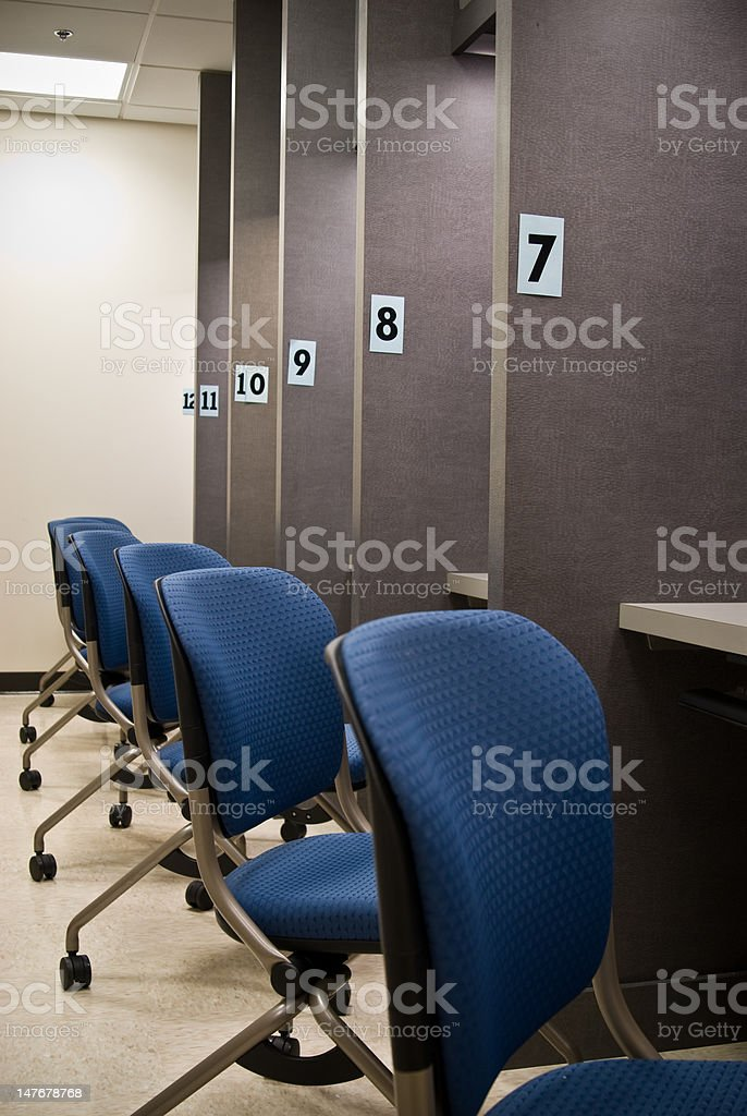 Exam Cubes 7 - 12 with Chairs stock photo
