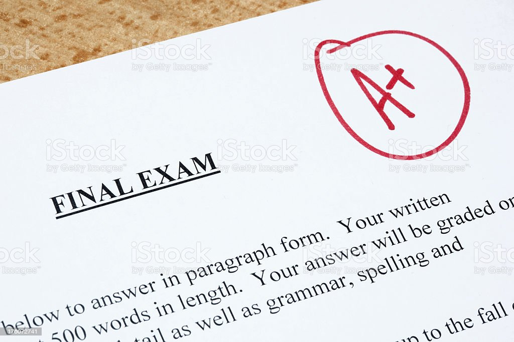 Exam with A+ Grade royalty-free stock photo