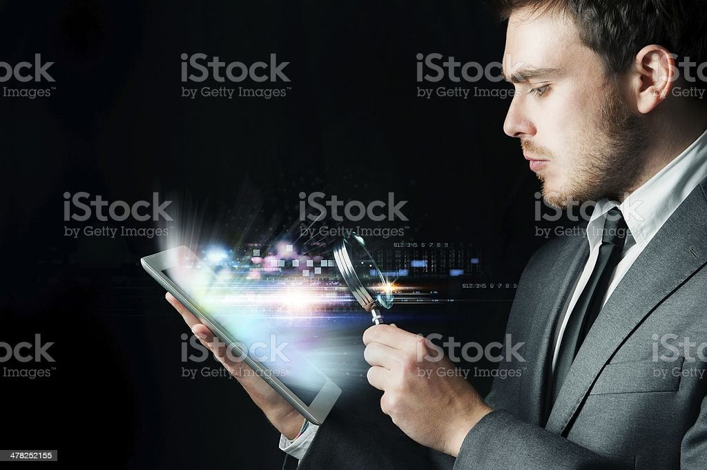 Examine a computer stock photo