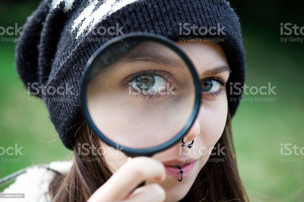 Examine Closely stock photo