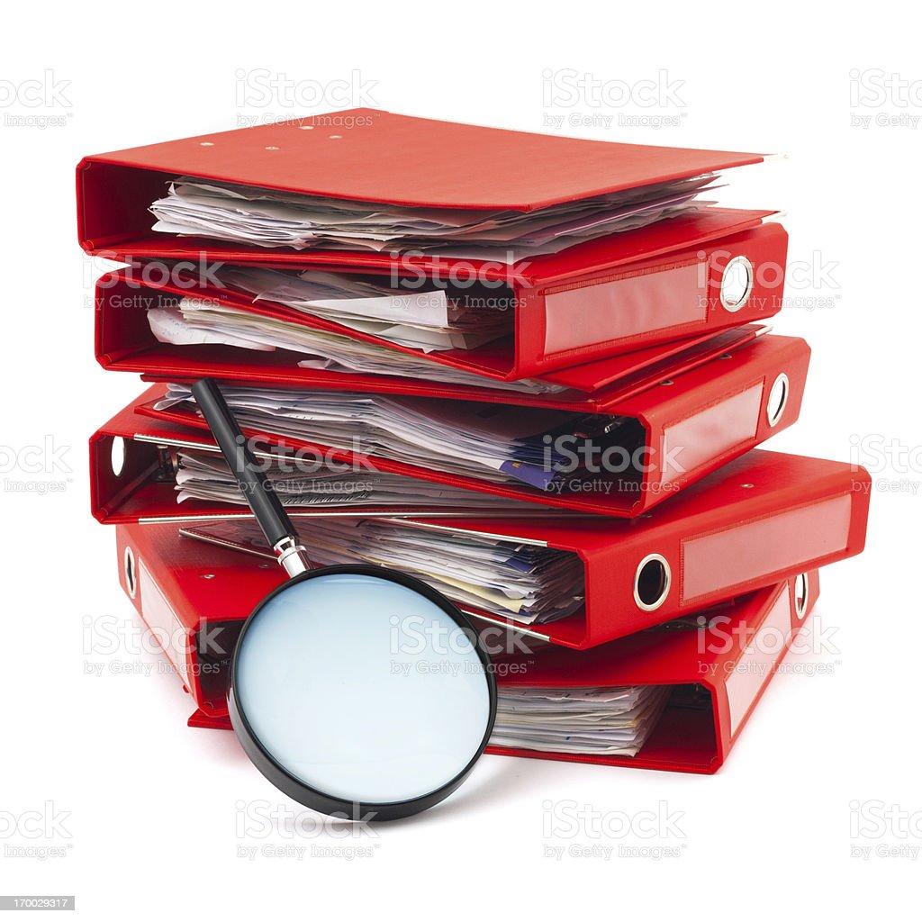Examining documents royalty-free stock photo