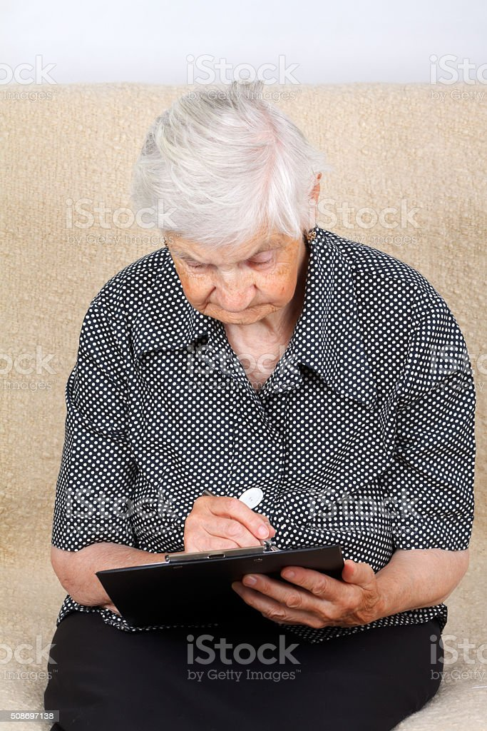 Examining the prescription stock photo