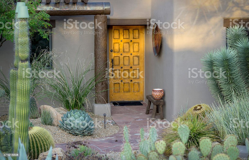 Example of desert Southwest Adobe outdoor architecture stock photo