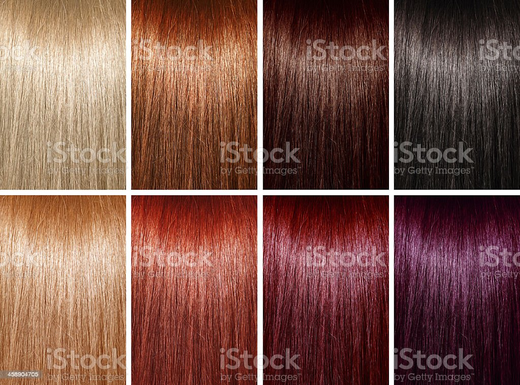 Example of different hair colors stock photo