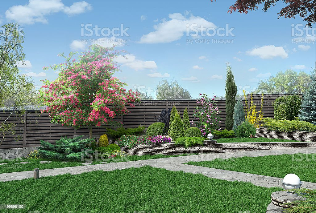 Example of multi level gardening, 3D render stock photo