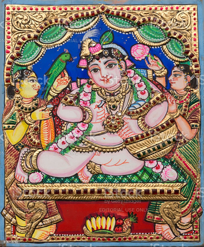 Example of Thanjavur Painting Style. stock photo